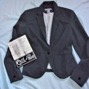 H & M classic gray work jacket blazer coat small